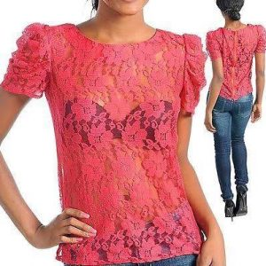 Coral plus size lace blouse