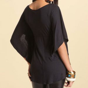 Flare Sleeve plus black blouse
