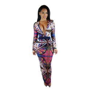 Multi Print bodycon maxi dress