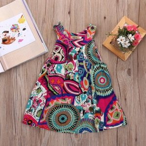 Multi print kids sundress
