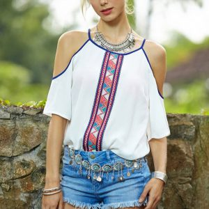 Plus size bohemian cold shoulder blouse