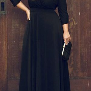 Plus size plunging neck boho maxi dress