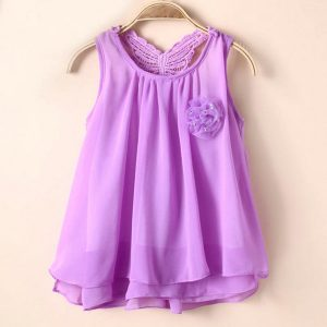 Purple tutu chiffon sleeveless summer girls dress