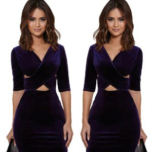purple-velvet-bodycon-dress