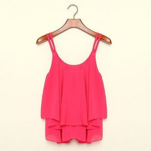 Rose chiffon loose tank top blouse