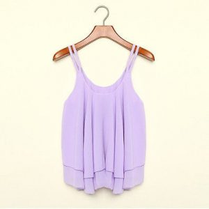 Sexy chiffon purple tank top blouse