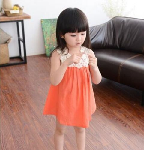 Sleeveless girls princess dress orange
