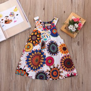 printed color kids summer dress