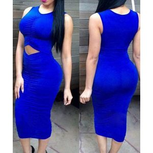 Royal blue ruched midi dress