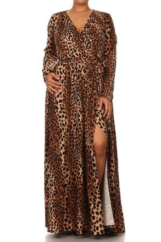 400cecefcb1 LEOPARD PRINT FRONT SLIT WRAP MAXI DRESS