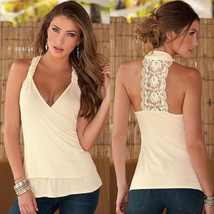 Apricot lace back top