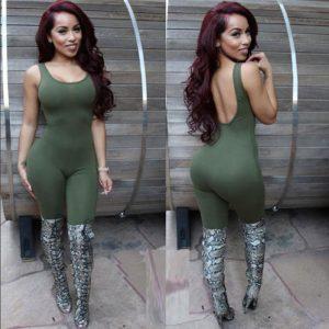 Army green ladies jumpsuit