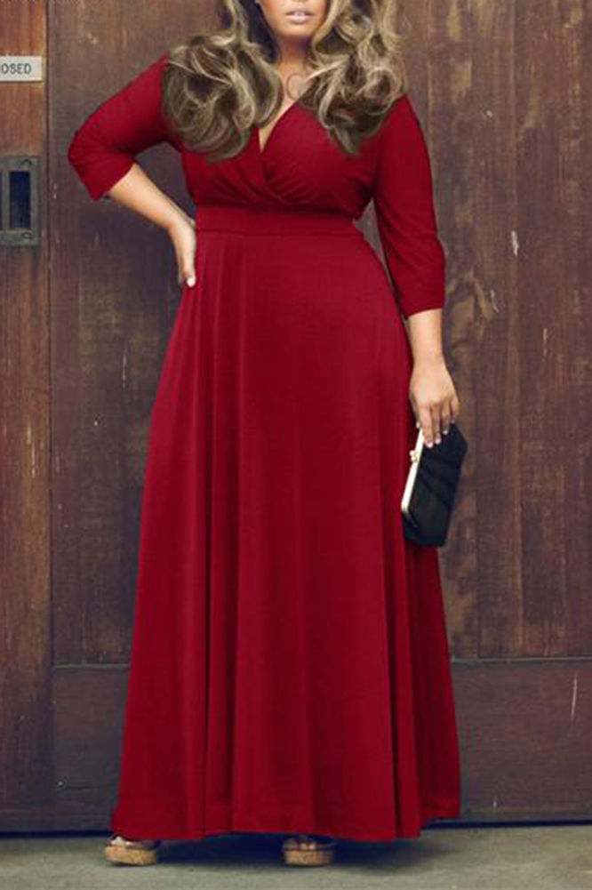 Stunning Plus Size Plunging Neck Boho Maxi Dress Addicted2fashion