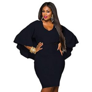 Black Plus size batwing midi evening dress