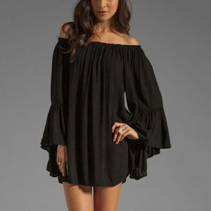 black-ruffle-sleeve-mini-dress