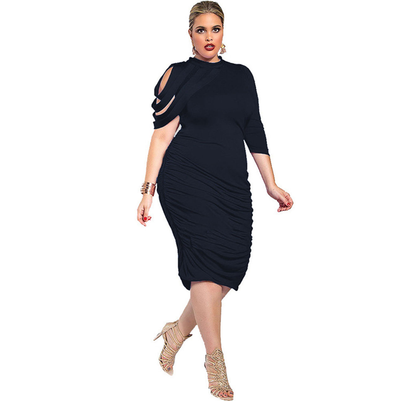 GORGEOUS PLUS SIZE DETAILED SLEEVE RUCHED DRESS