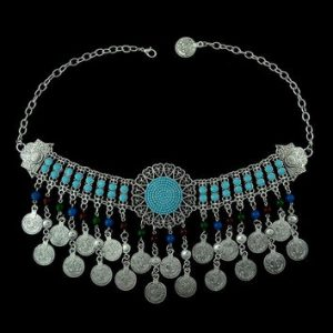 Bohemian style coin shape beads tassel necklace