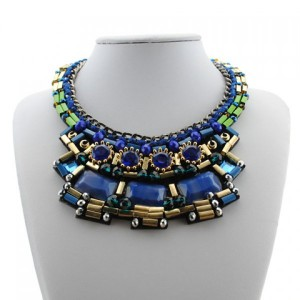 CHIC FAUX GEM LAYERED NECKLACE