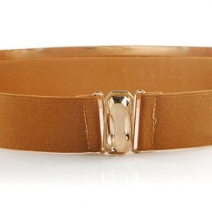 Caramel Metal Mirror Wide Waist Belt