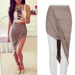 Chic asymmetrical sexy high waist skirt