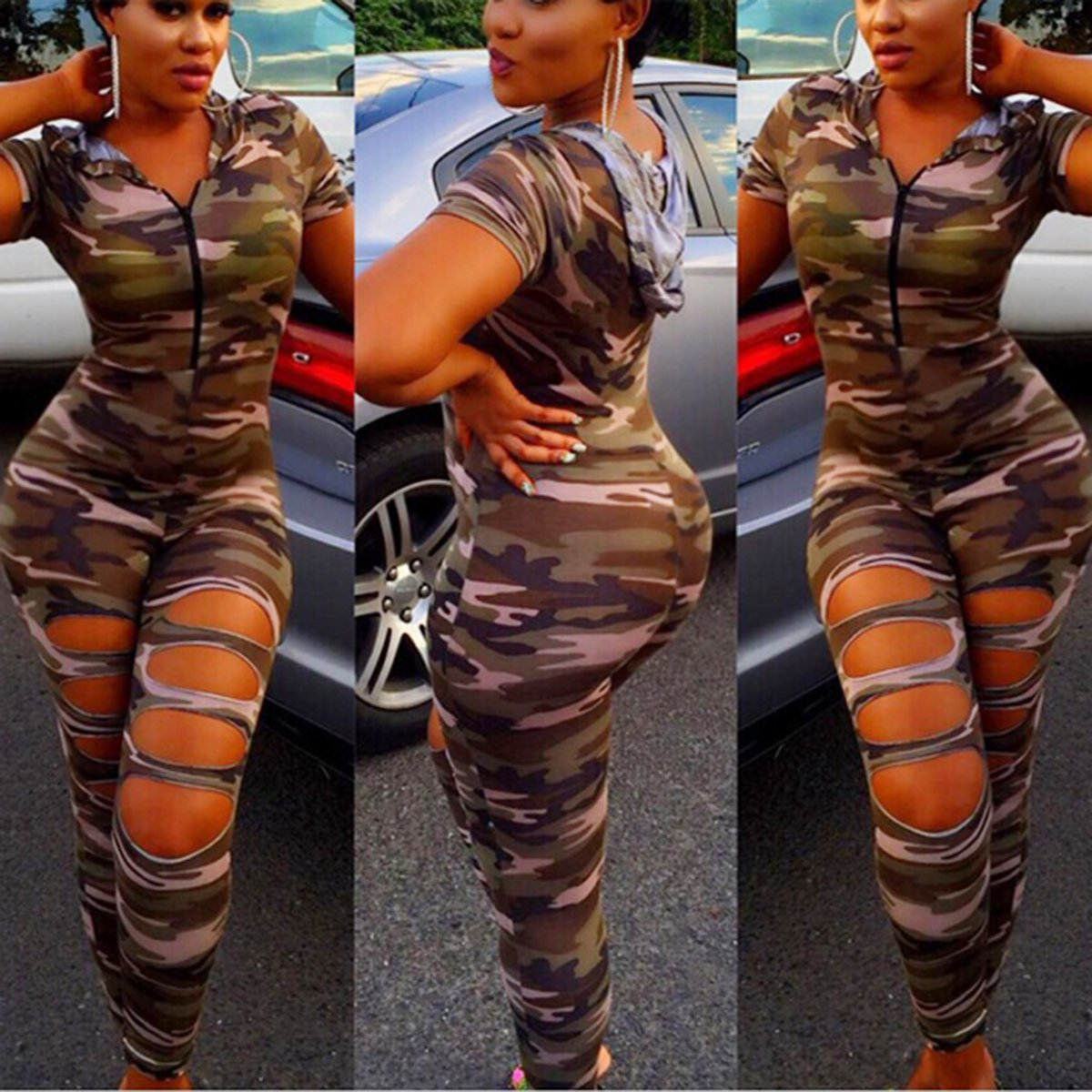 Camouflage Front Slit Jumpsuit W Hoodie Addicted2fashion