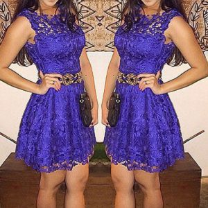 Deep Blue lace mini dress