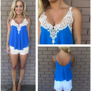 Deep blue lace tank top