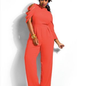 Detailed sleeves Plus size jumpsuit