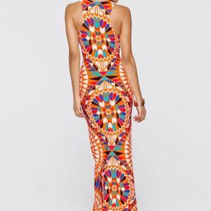 Exoctic mult print maxi dress