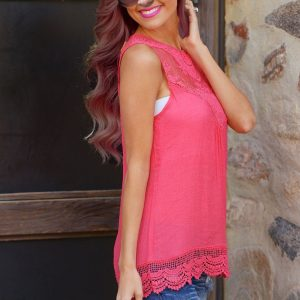 Lace rose color summer top