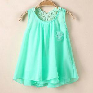Mint sleeveless tutu chiffon summer girls dress