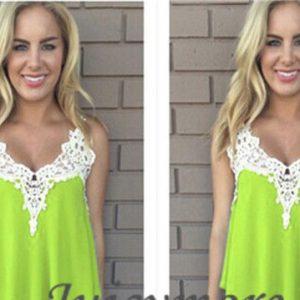 Neon green chiffon lace top