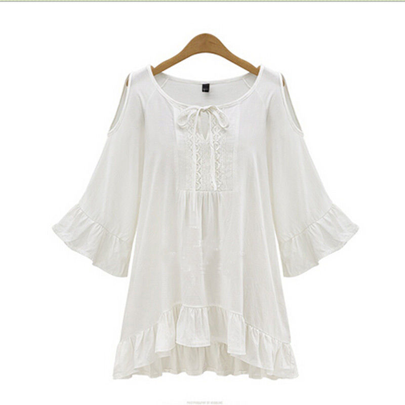 9dca11e63cb COLD SHOULDER LACE DESIGN PLUS SIZE RUFFLE BLOUSE *SALE ...