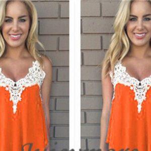 Orange chiffon lace top