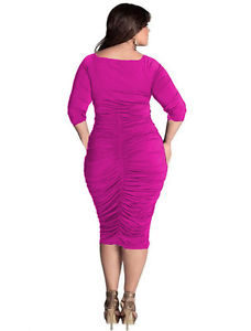 Pink plus size midi dress