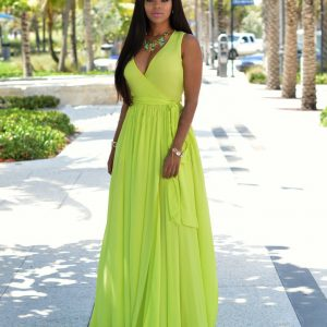 Pleated lime green maxi dress