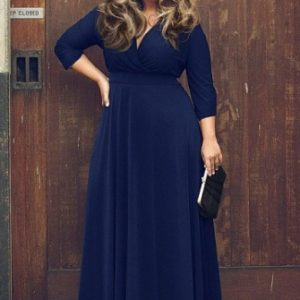 Plus Size ladies pleated maxi dress