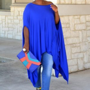 Plus size Batwing asymmetrical dress