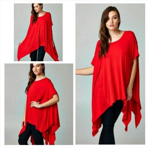 Plus size batwing red asymmetrical dress