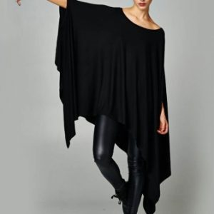 Plus size black asymmetrical dress