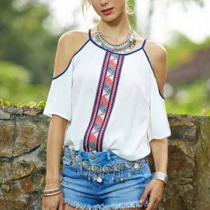 Plus size bohemian cold shoulder blouse