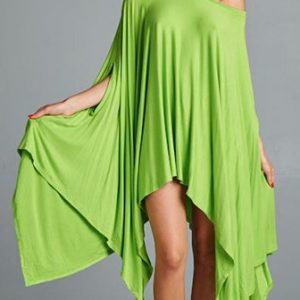Plus size green asymmetrical dress
