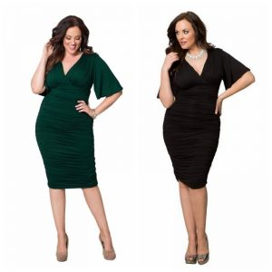 Ruched plus size flutter sleeve dress