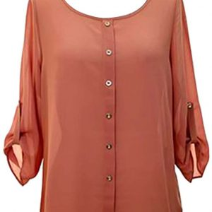 Tawny Rust Crepe Chiffon Semi Sheer Blouse Top With Button Tab Sleeves