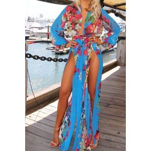 SEXY TURQUOISE FRONT SPLIT DRESS:COVER UP