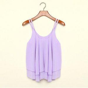 Sexy chiffon purple tank top blouse