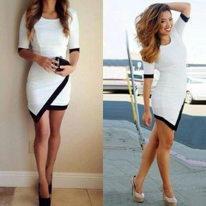 Stunning fitted asymmetrical colorblock min dress