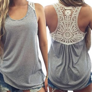 T shped lace back top
