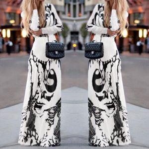 white-aztec-print-maxi-plus-dress