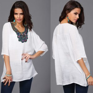 White embroidery detailed blouse